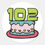 Torta de cumpleaños de 102 años pegatinas