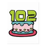 Torta de cumpleaños de 102 años postales