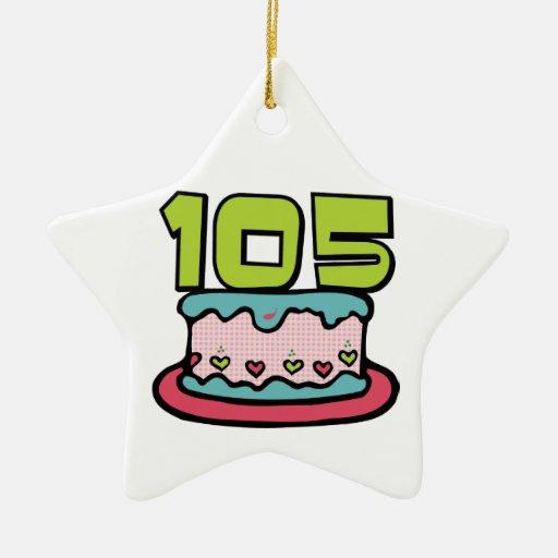Torta de cumpleaños de 105 años ornamento de navidad