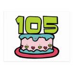 Torta de cumpleaños de 105 años tarjeta postal