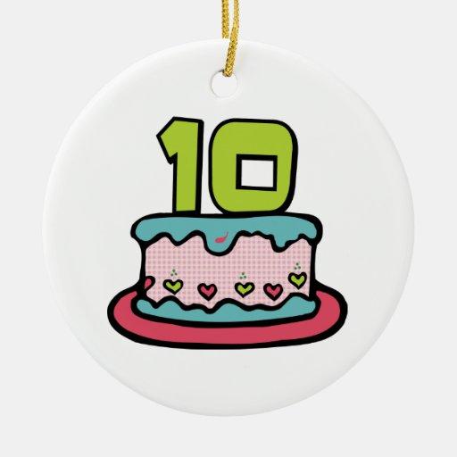 Torta de cumpleaños de 10 años adorno redondo de cerámica