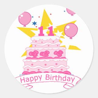 Torta de cumpleaños de 11 años pegatina redonda