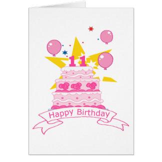 Torta de cumpleaños de 11 años tarjeta de felicitación