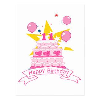 Torta de cumpleaños de 11 años tarjetas postales