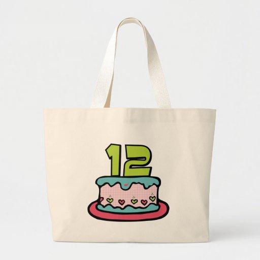 Torta de cumpleaños de 12 años bolsas lienzo
