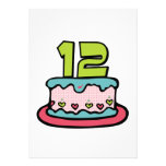 Torta de cumpleaños de 12 años invitaciones personalizada
