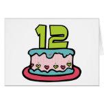 Torta de cumpleaños de 12 años tarjeta