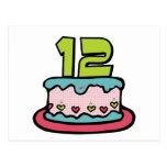 Torta de cumpleaños de 12 años tarjeta postal