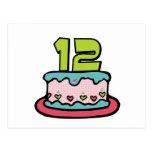 Torta de cumpleaños de 12 años tarjetas postales