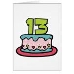 Torta de cumpleaños de 13 años tarjeta