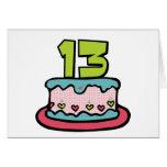 Torta de cumpleaños de 13 años tarjetas