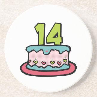 Torta de cumpleaños de 14 años posavasos de arenisca