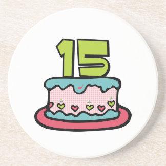 Torta de cumpleaños de 15 años posavaso para bebida