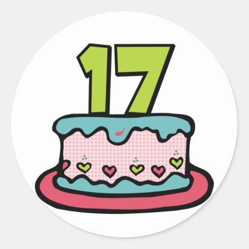 Torta de cumpleaños de 17 años pegatina redonda