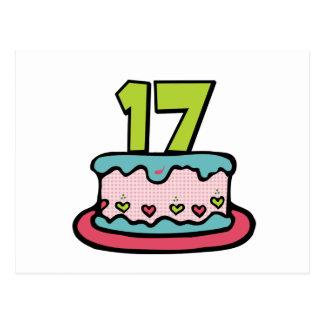 Torta de cumpleaños de 17 años tarjetas postales