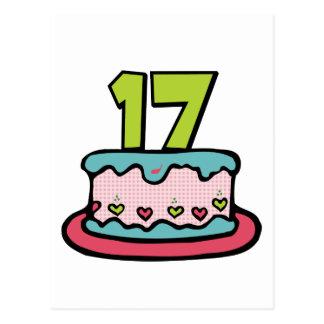 Torta de cumpleaños de 17 años tarjeta postal