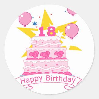 Torta de cumpleaños de 18 años pegatinas
