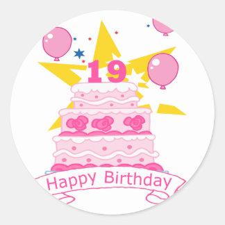Torta de cumpleaños de 19 años pegatina redonda