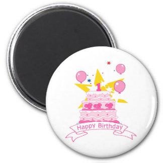 Torta de cumpleaños de 1 año imán redondo 5 cm