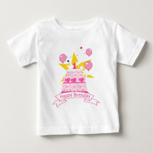Torta de cumpleaños de 1 año playera de bebé