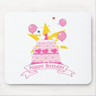 Torta de cumpleaños de 1 año alfombrilla de ratones