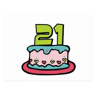 Torta de cumpleaños de 21 años postales