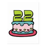 Torta de cumpleaños de 22 años tarjeta postal
