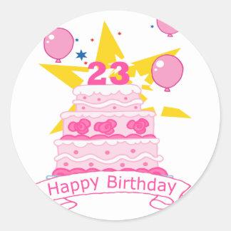 Torta de cumpleaños de 23 años etiquetas redondas