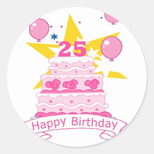 Torta de cumpleaños de 25 años etiqueta redonda