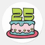 Torta de cumpleaños de 25 años pegatina