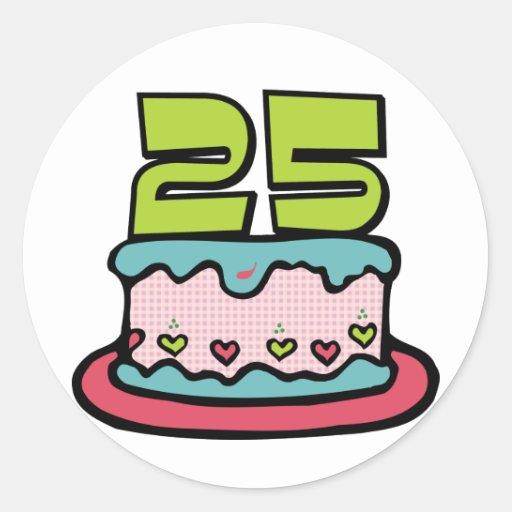 Torta de cumpleaños de 25 años pegatina redonda
