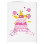 Torta de cumpleaños de 25 años tarjeton