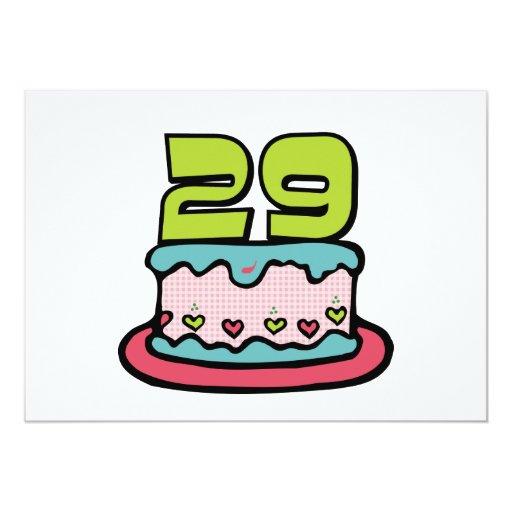 """Torta de cumpleaños de 29 años invitación 5"""" x 7"""""""