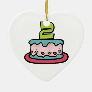 Torta de cumpleaños de 2 años adorno de cerámica en forma de corazón