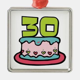 Torta de cumpleaños de 30 años adorno cuadrado plateado