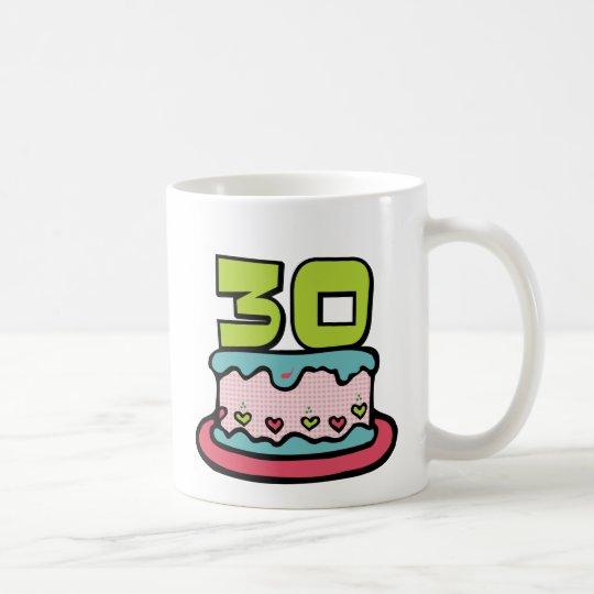 Torta de cumpleaños de 30 años taza de café