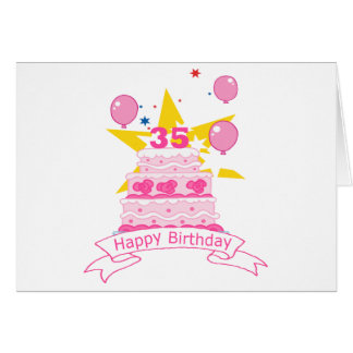 Torta de cumpleaños de 35 años tarjeta