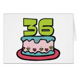 Torta de cumpleaños de 36 años tarjeta