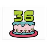Torta de cumpleaños de 36 años tarjeta postal