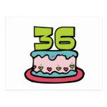 Torta de cumpleaños de 36 años tarjetas postales