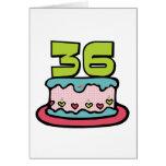 Torta de cumpleaños de 36 años tarjetón
