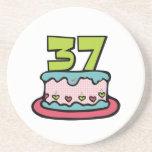 Torta de cumpleaños de 37 años posavasos cerveza