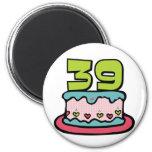 Torta de cumpleaños de 39 años iman de nevera