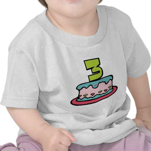 Torta de cumpleaños de 3 años camisetas