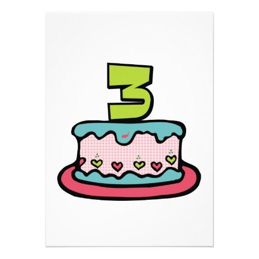 Torta de cumpleaños de 3 años invitacion personal