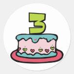 Torta de cumpleaños de 3 años pegatina redonda