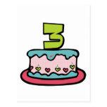 Torta de cumpleaños de 3 años postal