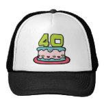 Torta de cumpleaños de 40 años gorras