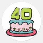 Torta de cumpleaños de 40 años pegatinas redondas