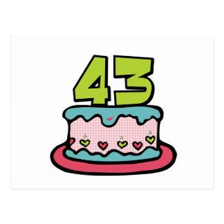 Torta de cumpleaños de 43 años tarjetas postales